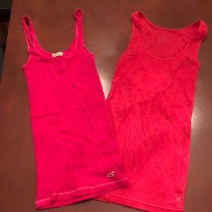 Lot of (2) fuscia pink tanks xs/s hollister/A/E